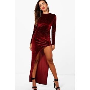 Womens Millie Glitter Thigh Split Maxi Dress